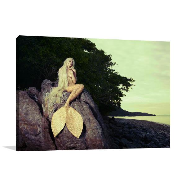 Mermaid on Rock Canvas Art Prints