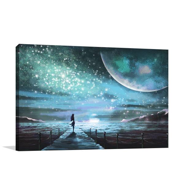 Moon and Ocean Canvas Art Prints
