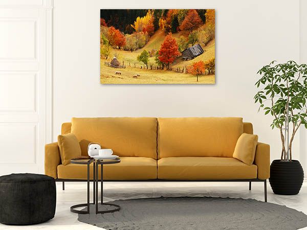 Mountain and Sheeps Canvas Prints