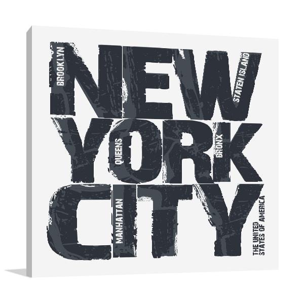 New York Type Prints Canvas