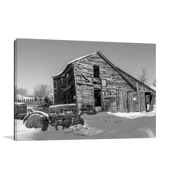 Old Barn and Tractor Canvas Art Prints