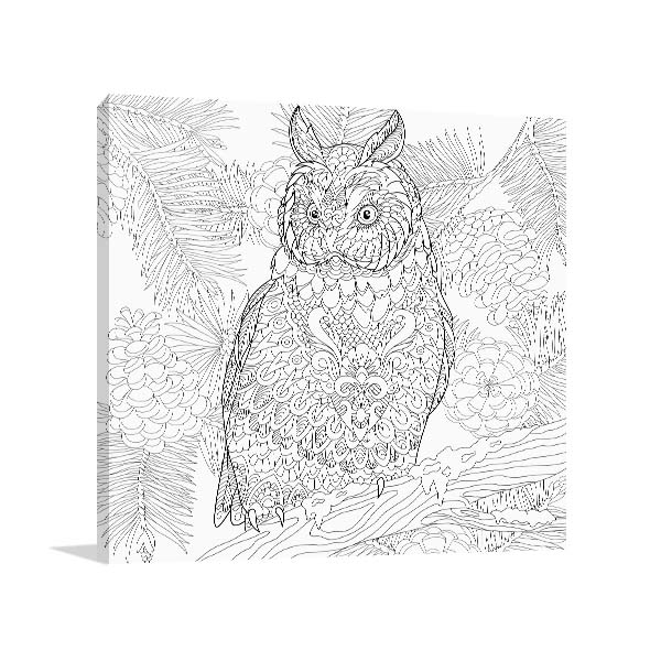 Owl in Branch Canvas Art