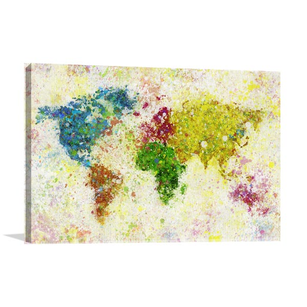 Painting of world map art print in art deco design style painting of world map art print gumiabroncs Gallery