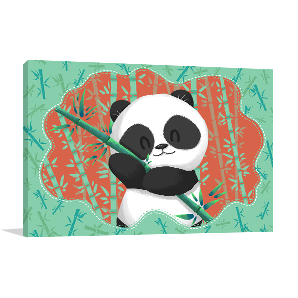 Panda in Bamboo Forest Canvas Prints