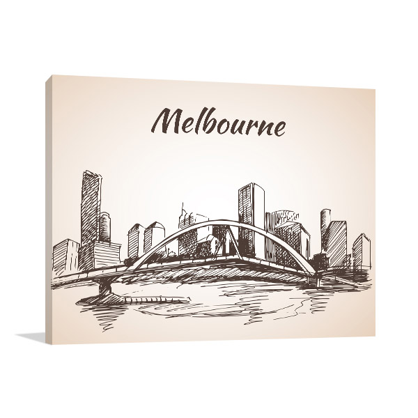 Panoramic Melbourne City Sketch Art Print | Buy Art Online