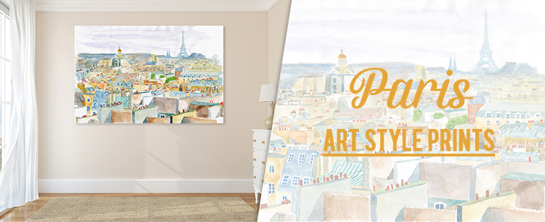 Paris Art Style Prints On Canvas For Lounge Rooms