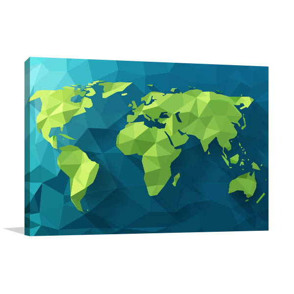 Polygonal world map art print interior wall design polygonal world map art print gumiabroncs Gallery