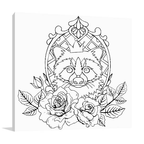 Raccoon In A Crown Canvas Prints