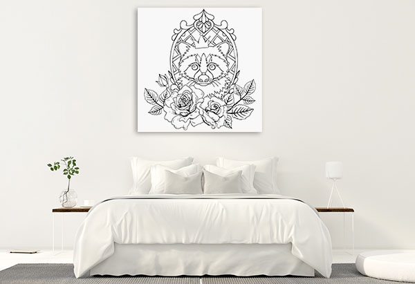 Raccoon In A Crown Prints Canvas