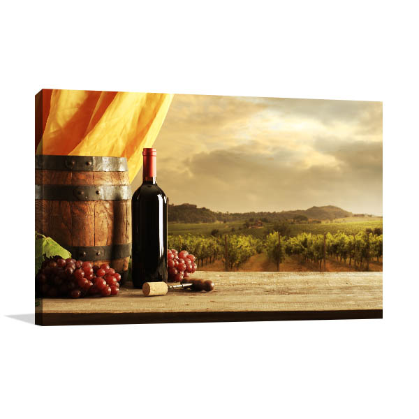 Red Wine in Vineyard Wall Art