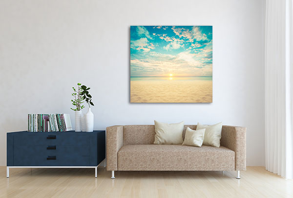 Sand And Beach With Sunset Canvas Prints