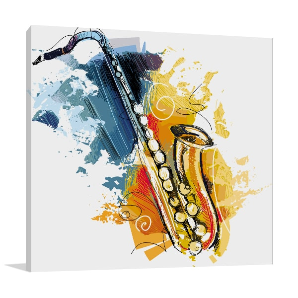 Saxophone Canvas Art Print In Music Wall Decor Free Shipping