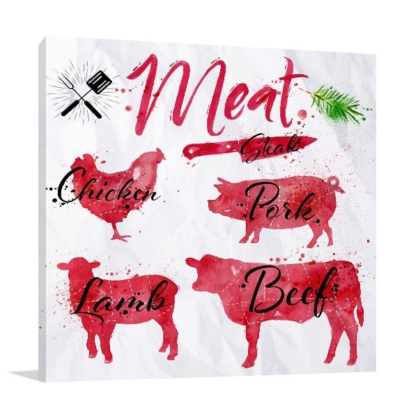 Set of Meat Wall Art