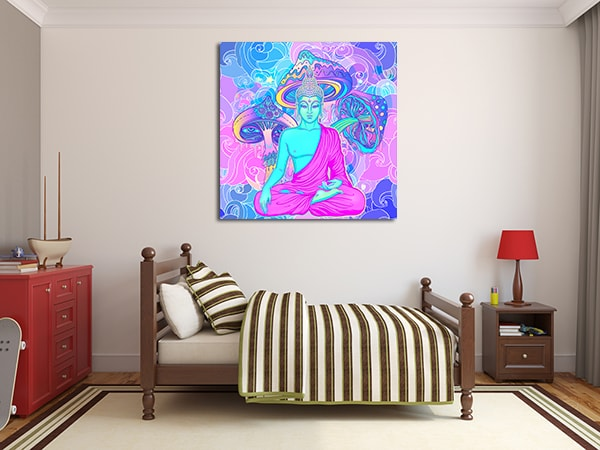 Sitting Buddha Canvas Art Print on the Wall