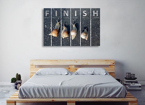 Snail At Finish Line Art Prints