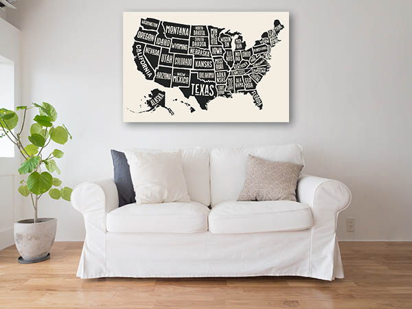 State Names Map Artwork