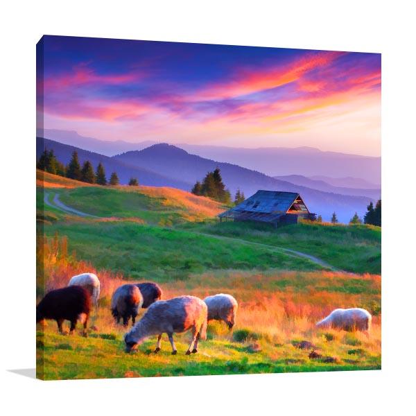 Sunset Mountain Village Art Prints
