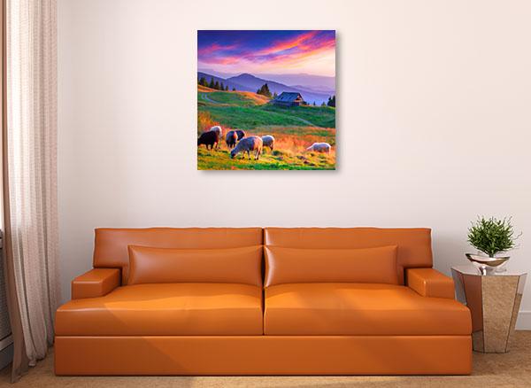 Sunset Mountain Village Wall Art