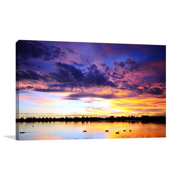 Sunset Over Lake Ballarat Prints Canvas