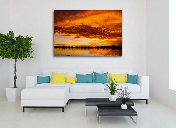 Sunset over Lake in Ballarat Canvas Prints