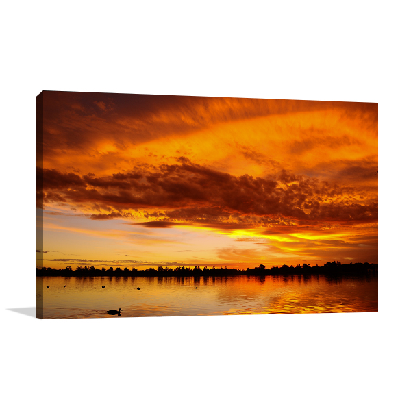 Sunset over Lake in Ballarat Wall Art