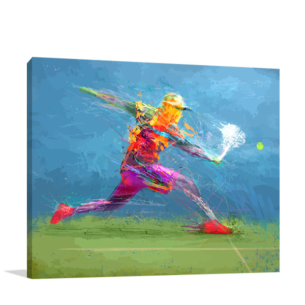 Tennis Player In Abstract Art Print Modern Living Room