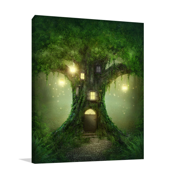Tree House in Forest Wall Art