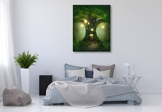 Tree House in Forest Canvas Prints