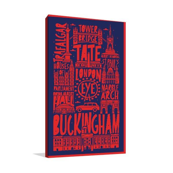 Typographic London Canvas Art Prints