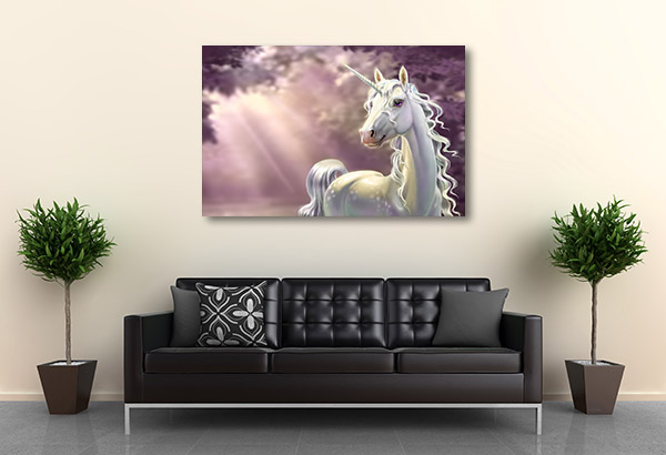 Unicorn In The Forest Canvas Art