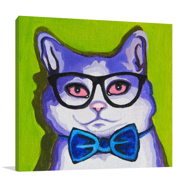 Violet Cat with Glasses Art Prints