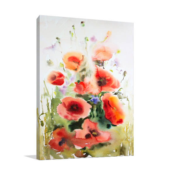 Watercolour Of Poppies Wall Art