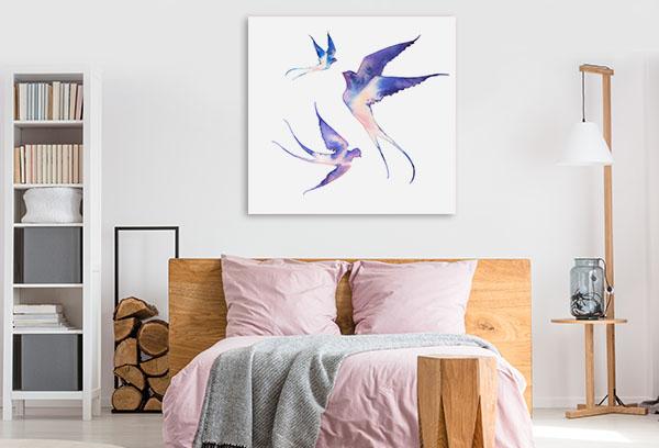 Watercolour Swallows Prints Canvas