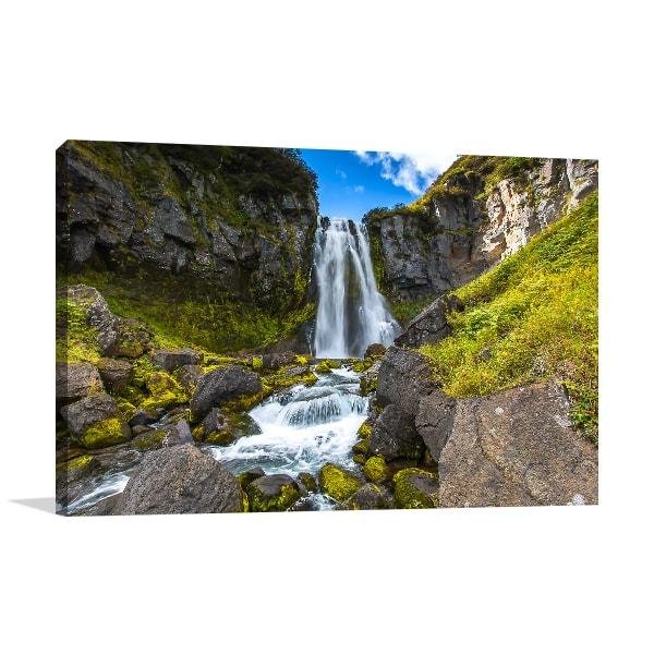 Waterfall Mountain Prints Canvas