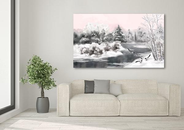 White Season Canvas Artwork on the Wall