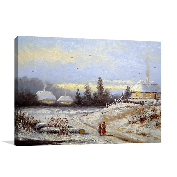 Winter Village Canvas Art