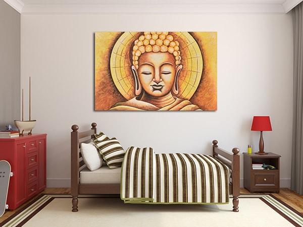 Wooden Buddha Print Art on the Wall