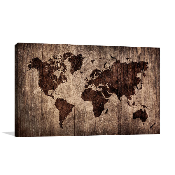 Wooden world map canvas print in creative ideas art wooden world map wall art wooden world map prints canvas gumiabroncs Gallery