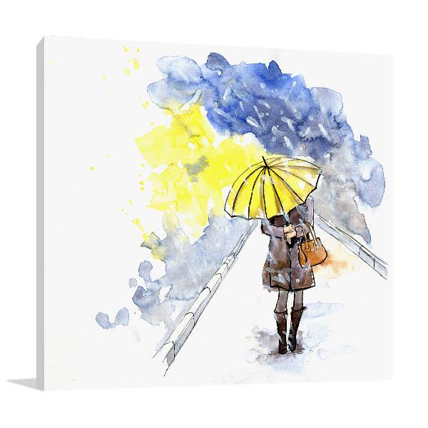 Yellow Umbrella Canvas Art