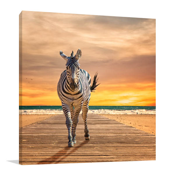Zebra at Beach Print Artwork
