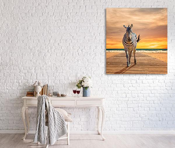 Zebra at Beach Canvas Art Prints
